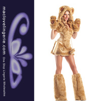 Drop Shipping New Design Furry Sexy Womens Halloween Costumes ML5392 Golden Deluxe Bear Adult Costume Sexy Animal Cosplay