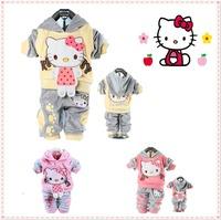 New 2014 Cartoon Hello Kitty Girls Clothing Sets Baby Girls Clothes Children Hoody Roupas Meninas Brand  Autumn 2pcs Set 0-2T