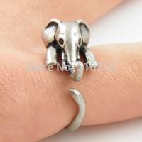 New fashion 2014 Cute Animal Wrap Ring Elephant Ring Antique Silver 30pcs/lot  Free Shipping