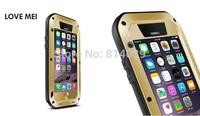 5pcs DHL Free Original Love Mei Shock proof Dirt proof Waterproof Metal Aluminum Case for iPhone 6 4.7 + Gorilla Tempered Glass