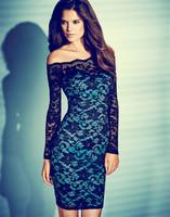 Long Sleeve Autumn Dress 2014 New Fashion Casual Dress Off Shoulder Flower Lace Dress 2014 Lady Bodycon Vintage Dress YK006