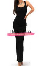 Sexy 2015 ocasional outono moda feminina vestidos Sexy preto sem mangas do pescoço da colher Bodycon Bandage venda elegante Maxi vestido longo(China (Mainland))