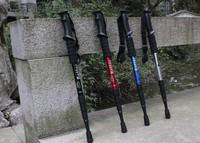 Black Adjustable Anti-shock Hiking Cane Walking Pole Trekking Walk Stick Crutch Free shipping