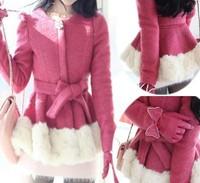 2014 new women elegant bow European style lace long-sleeved woolen jacket woolen coat casual clothing