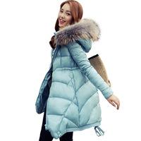 fashion 2014 new women's winter fur collar Slim OL long thick coat down jacket female casual clothing Down Parkas