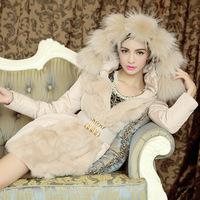 New winter 2014 Korean Women Slim luxurious fur oversized fur collar long down jacket women thick female clothing coat Parkas