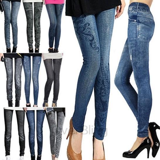 Hot Sale 2015 Women Thin Ladies Wild Snow Denim Jeans Leggings Pencil Pants Nine Legging Autumn Warm Trouser Free Shipping L9004(China (Mainland))