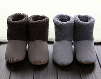 New 2014 Winter Warm Striped Indoor Slippers Womens Mens Soft Sole Footwear At Home Shoes