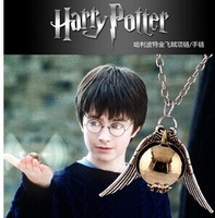 vintage harry potter snitch gold necklace N11 free shipping