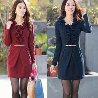 2014 autumn winter fashion temperament flounced bottoming long-sleeved knit dress women ruffles solid work casual dresses