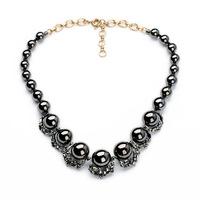 Slick Black Pearl Hematite Plated Necklace