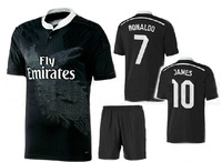 14 15 Real Madrid away black uniform #7 Ronaldo designer soccer jersey #11 Bale player's football thai quality jersey tracksuit