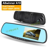 """4.3"""" dual lens Rearview Mirror DVR with G-SENSOR  ALLWINNER A10 chipset 1080P Front camera and 720P Rear Camera OT30T"""