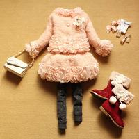 [LOONGBOB] 2014 new baby girl set children autumn winter princess 2 pcs set coat + skirt suit kids fashion floral set 090A