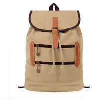Vintage style Canvas Backpack Rucksack drawstring Men's travel bags Women school bag with hasp