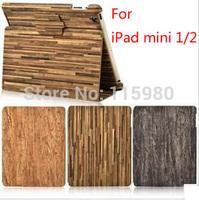2014 New Arrival Retro Wood stripe design cover case for ipad mini1  ipad mini 2  Leather Cover stand for mini retina