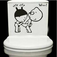 1 set 9*9 inch Removable Waterproof PVC Toilet Sticker Transparent Edge Funny Wallpaper For Bathroom Tile Toilet Lid Decoration