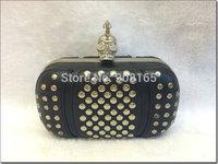 free shipping brand design skull rivet genuine leather women evening wallets BLT0018