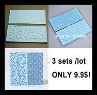 Free Shipping 3 set Mayan Sun Floral Swirls Lace Wood Grain Brick Cobblestone Stone Wall  Mold Mat Cake Emboss Fondant Mould