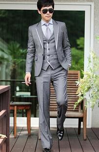 Куртка + жилет + брюки ) мужчины костюмы дизайнерский бренд приталенный подходят один пуговица свадьба официальный бизнес платье пиджак костюмы h0266