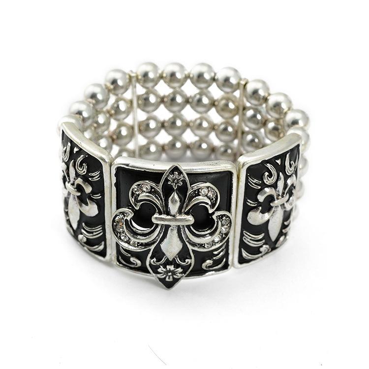 High Quality Stretch Bracelet 2015 New Ancient Silver Cube Design Alloy Enamel Vintage Bangles(China (Mainland))