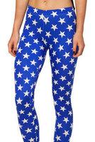 HOT Fashion Women Space print Pants Galaxy Leggings Black Milk sexy Leggings Blue pants white five-pointed star Milk Leggings