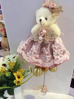 stock! Lovely bear bell lace Campanula dolls stuffed plush Toys brinquedos home car decorations Christmas gift