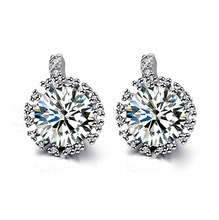 2014 Super Flash Star 925 Sterling Silver Earring Stup Earrings AAA zircon jewelry ED2502