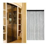 Romantic Solid Color Fringe Door Curtain Drape String with Bead Chain 1X2M (Black) Free shipping