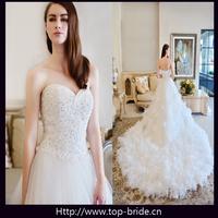 Luxury Crystal Beaded Cathedral Train Wedding Dress