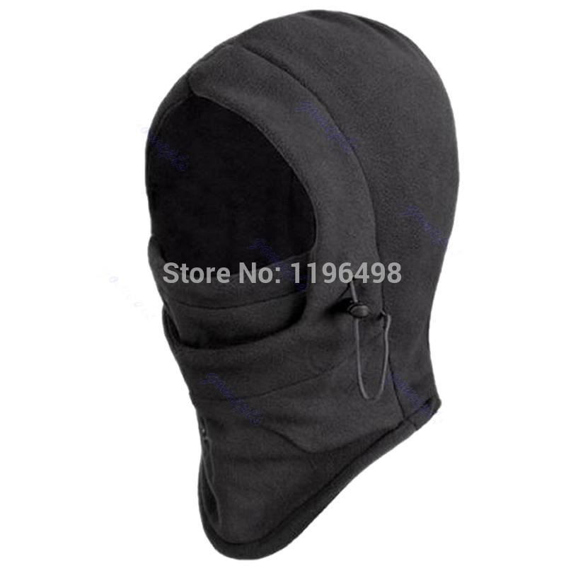 Black 6 in 1 Thermal Fleece Balaclava Hood Police Swat Wind Stopper