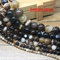 "Wholesale Free Shipping 4 6 8 10 12 14mm Dark brown Round Beads Smooth Striated Agate Pick Siz 15.5"" F00138"
