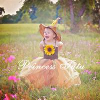 Retail  2014 new sleeveless Birthday Flower Girl Tutu Dress Orange Dress Without Hat 3D Flower Princess Party  Dress Size 2-8Y