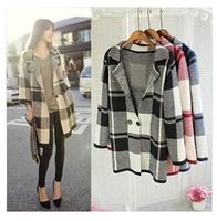 New Brand Women Cardigan Sweater Full Sleeve Plaid Long Cardigan V-neck Cardigans 2014 Women Fashion