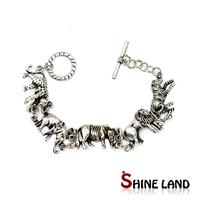 Vintage Jewelry Antique Silver Plated Various Animals Pendant Chain Statement Brancelt Banlge New Designed For Men/Women