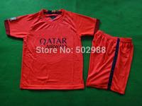 best quality 2014/15 A.INIESTA SUAREZ children/youth/kids football shirt equipment,NEYMAR JR soccer jersey & shorts uniform set