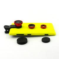 Detachable Fish-Eye Lens Wide Angle Micro Camera Phone Lens 3in1 Kits For Nokia Lumia 720 FREE Shipping