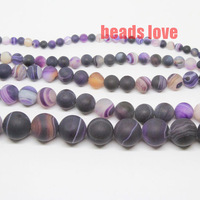 Free Shipping 4 6 8 10 12 14mm Dark purple Round Beads Dull Polish Matte Striated Agate Discounts F00133