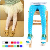 New Candy Color Baby Girl leggings Dot Velvet pants for Kids 2014 Summer Spring Pantyhose girl Free Shipping