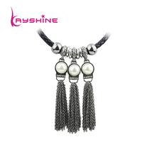 Bohemian Style PU leather Chain Gold Gunblack Alloy Long Tassel Chain Turkish Necklace Singapore