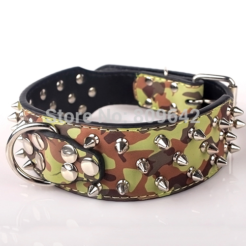 Spiked Dog Collar Faux Leather Color Camouflage Fit Large Dogs Size Extra_Small Small Medium