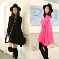 Free shipping!Korean version of the modal sun dress Slim thin long-sleeved vest skirt big pendulum swing dress skirt
