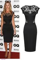 New Autumn Retro garment Black Elegant Sleeveless Lace Insert Bodycon Vintage Brief  Midi Dress vestidos femininos