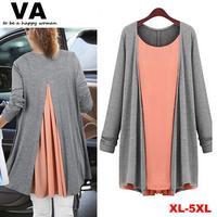 New 2014 Women Sweater Chiffon Dress, Street Style Casual Dress, Autumn Eropean Style Fahion Plus Size Women Dress 3XL 4XL 5XL
