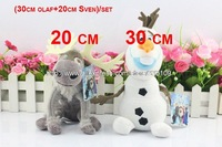New Hot Sell Cartoon Movie Brinquedos dull toys 2PCS/Set Frozen Sven(20cm) + Frozen Olaf (30cm) Doll Frozen Toys Stock Cheapest
