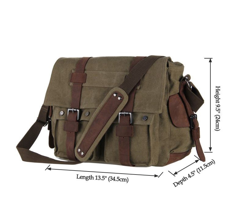 9002N J.M.D New Style Vintage Canvas and Leather Men's Army Green Color Briefcase Messenger Bags Bookbag Outdoor Bag 5 PCS/LOT(China (Mainland))