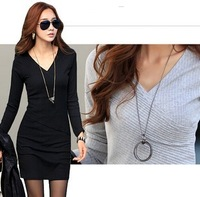 european style clothing V-neck long-sleeved Plus size autumn long sleeve dress
