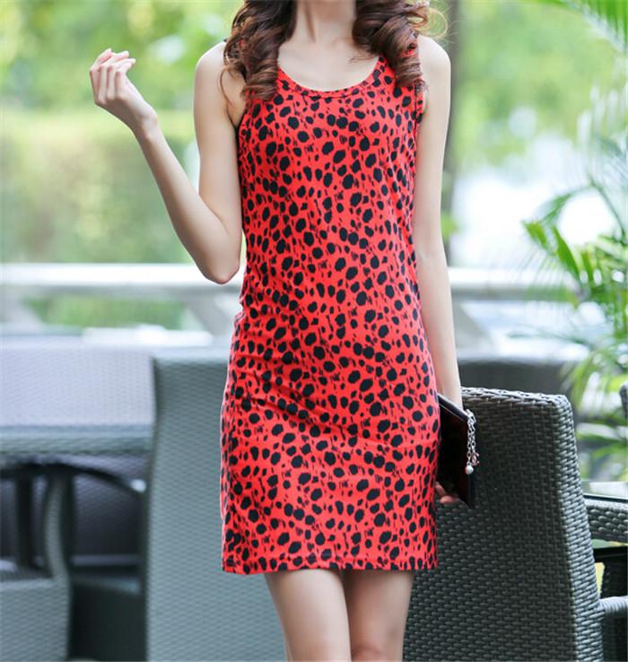 2014 New Fashion Women Summer Dress Red Graffiti Print Straight Sleeveless Casual Dresses Soft Underwear Drop Shipping T19-23(China (Mainland))