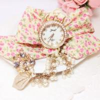 New design Ladies flower cloth wrist watch fashion crystal women dress watch high quality fabric watch girls watch TD0189