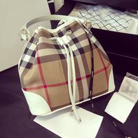Free shipping HOT London style designer Plaid bucket-bag woman handbag shoulder bag large lady string retro canvas hand bag